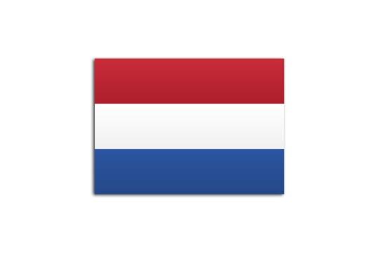 Flat flag of Netherlands on white background