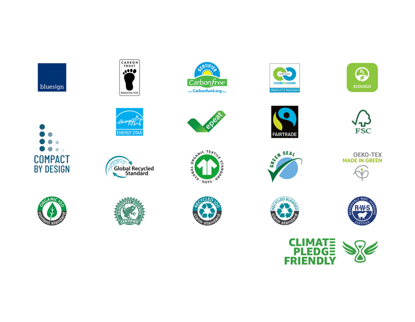 Series of Climate Pledge Friendly logos used on product packaging to signify green-certified