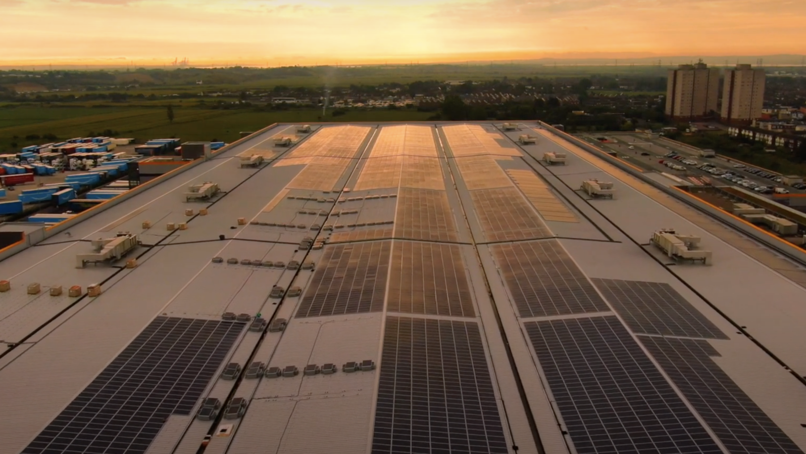 Sustainability in Europe- Solar Panels in Europe, exhibiting solar panels on a roof & sunset