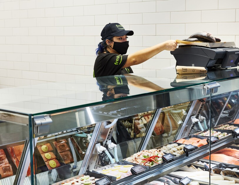 Food inside an Amazon Fresh grocery store in Woodland Hills, California.