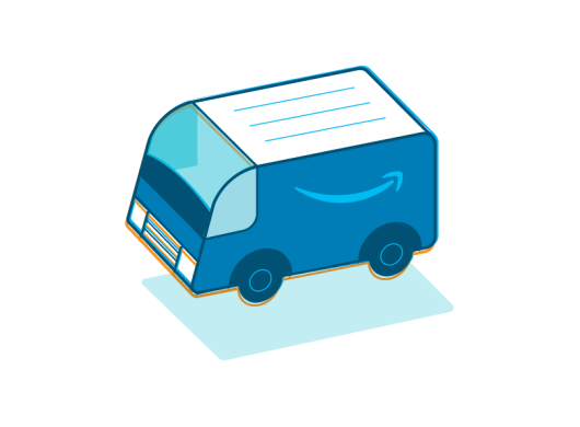 An illustration of an Amazon delivery vehicle in shades of blue with the Amazon smile logo on its side
