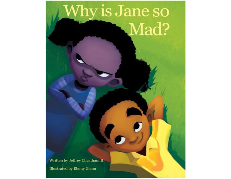 The book cover of Why is Jane So Mad, by Jeffrey Cheathan II. It features two children lying on the grass.