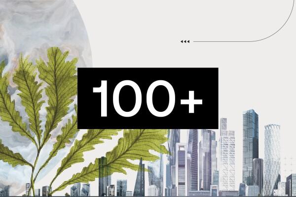 Composición con un fondo de rascacielos a tonos grises, Difuminado y de color gris un planeta y en primer plano pero sobrepuesto a la imagen unas ramas de color verde. Hay una flecha que se dirige a un cartel negro rectangular con el número 100 y un +.