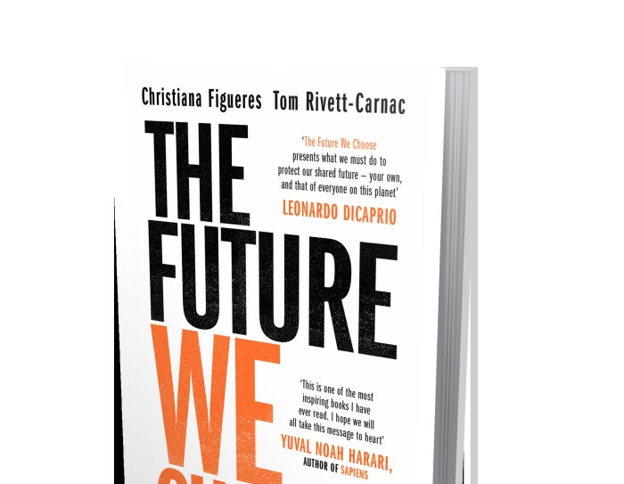 Portada del libro The Future We Choose, la primera parte está en color negro y la segunda en color naranja.