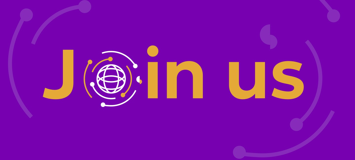 Purple banner with the orange words 'Join us'