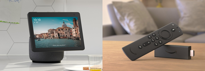 A quad split image of 4 Amazon devices