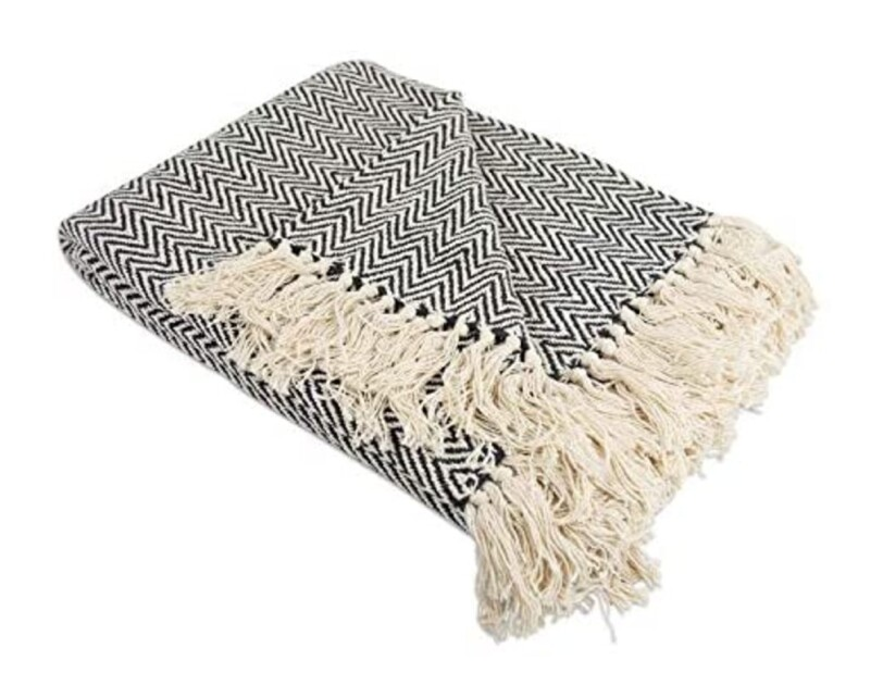 DII Rustic Farmhouse cotton chevron blanket throw