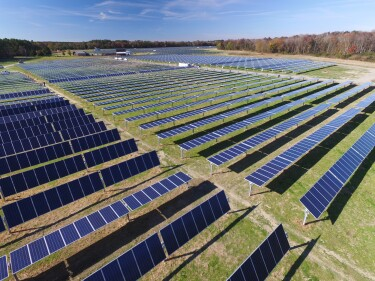 Solar farms likes this are just one of the ways AWS is working to achieve its goal of 100% renewable energy.