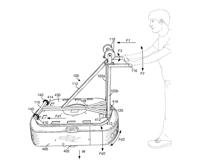 Schematic drawing of a person pushing a handle secured to a device.