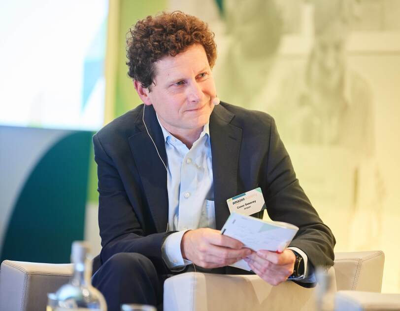 Conor Sweeney, Amazon EU Head of Public Relations at Amazon Academy Brussels panel as the moderator.