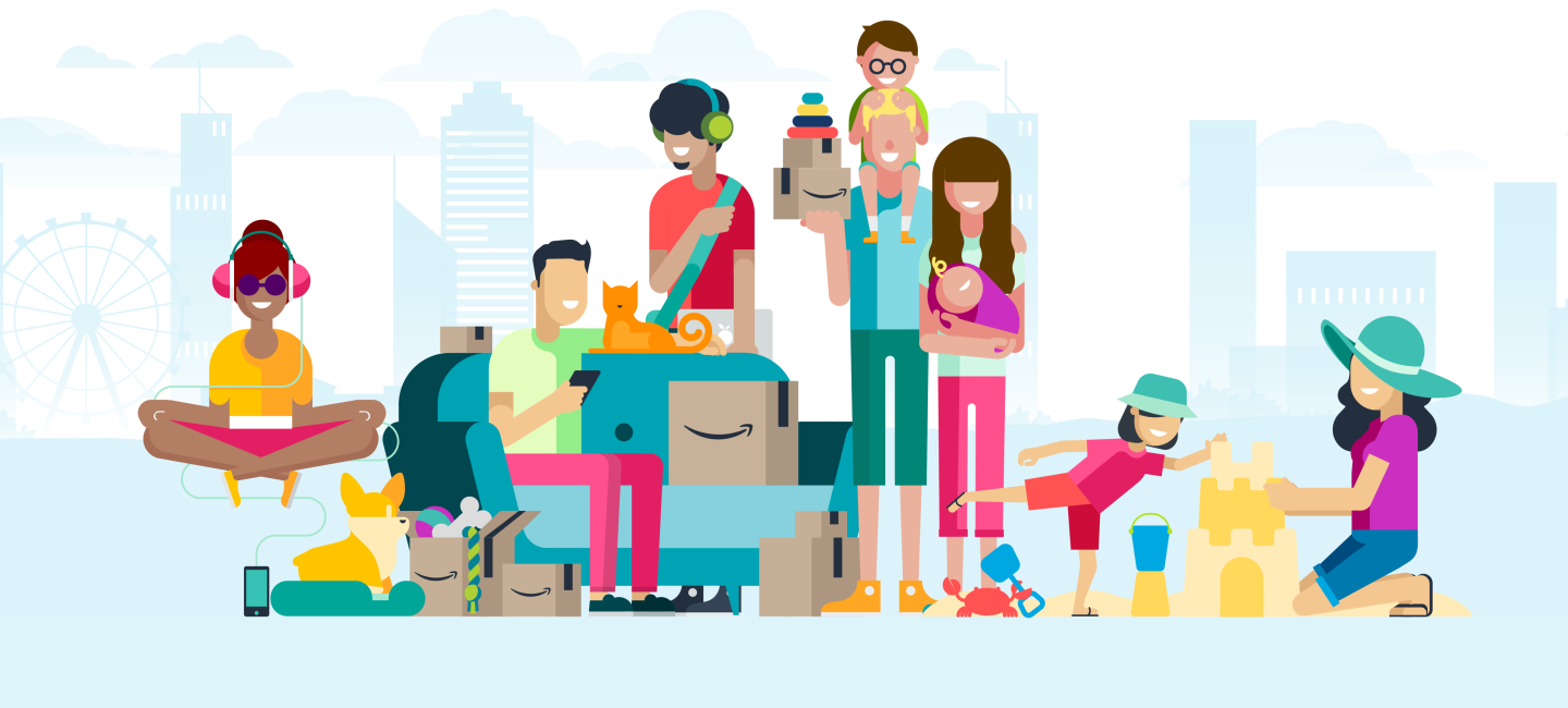 Illustrations of people in front of a skyline. A woman sits cross legged, a corgi stands near an Amazon box with a dog bone sticking out. A man sits on a sofa looking at his phone with a cat sitting next to him. A man with headphones and a laptop computer stands behind the sofa. A man and woman stand together; she holds an infant, he has a toddler sitting on his shoulders. A woman and her daughter build a sand castle.