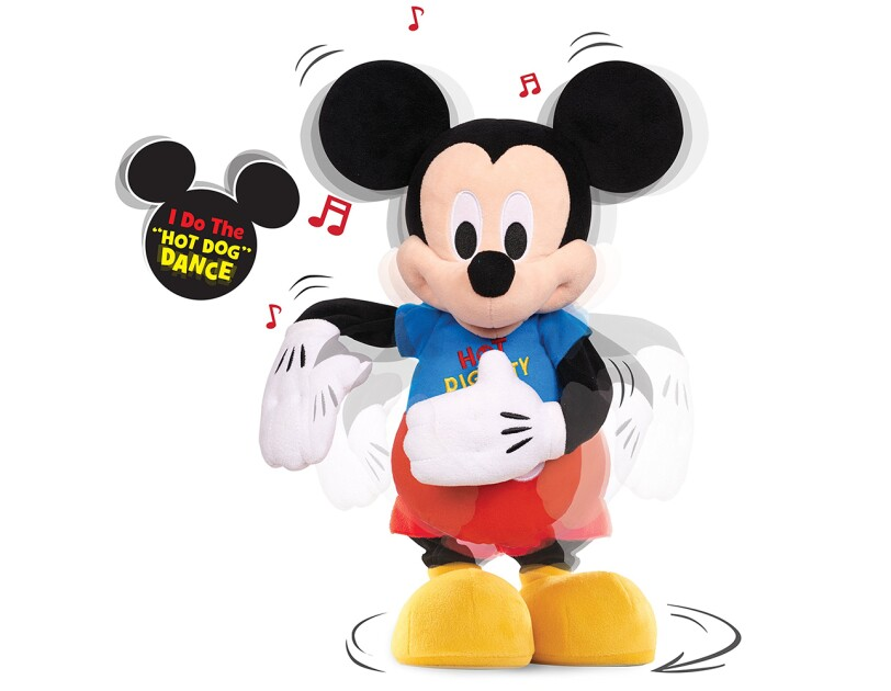 A Mickey Mouse Clubhouse Hot Diggity Dance and Play plush toy with a light up t-shirt, that dances and plays the iconic Hot Dog song.