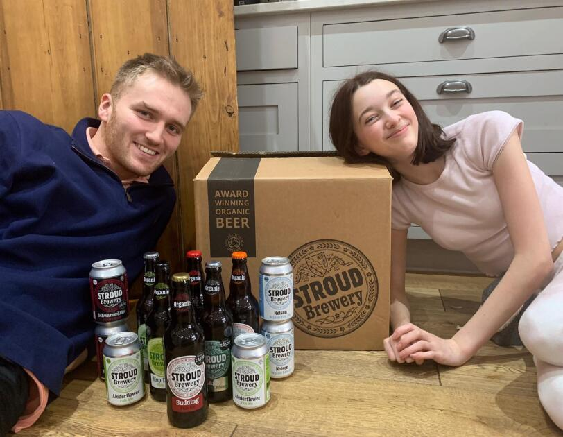 Campus challenge runners up in front of their products from STROUD Brewery.