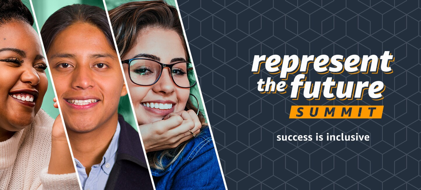 """A Black Woman, Native American Man, and Latina Woman are shown, with """"represent the future summit, success is inclusive"""" in text"""