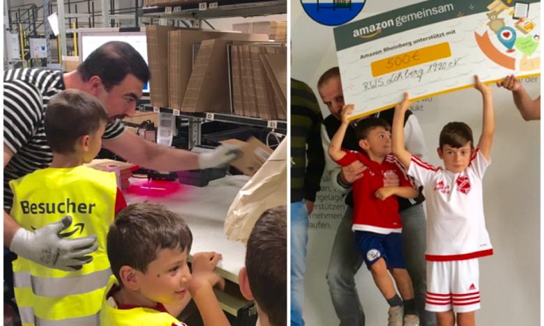 Auf einer Collage von 2 Bilder sieht man die Kinder bei der Logistikführung und Spendenübergabe: Eines der Kinder hält den Spendenscheck in die Höhe.