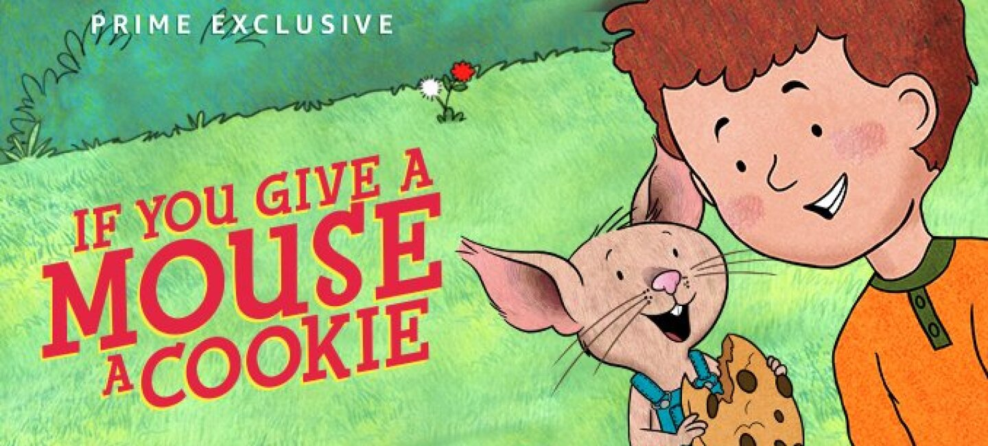 "Illustration from ""If you give a mouse a cookie"" Prime Video exclusive - shows a boy smiling at a mouse, the mouse wears overalls and is eating a cookie"