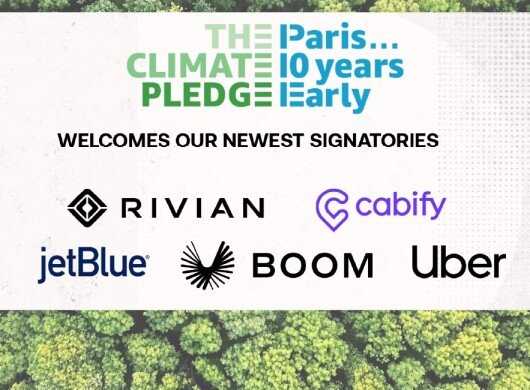Climate pledge signatories like rivian, cabify, uber, boom and jet blue