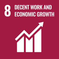 "UN SDG #8 reads ""Decent Work and Economic Growth"" and features an icon of a bar chart and an arrow in an ascending order."
