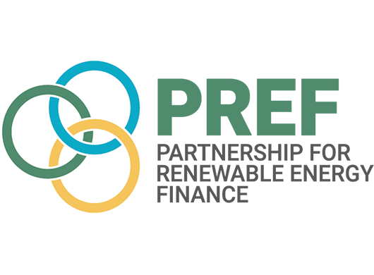 PRFE: Partnership for Renewable Energy Finance logo on a white background.