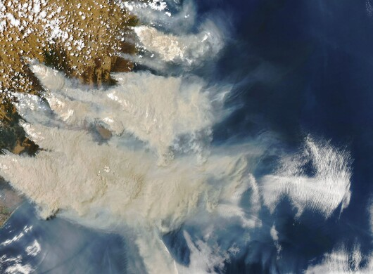 Smoke from the 2019/20 Australian brush fires drifts over the Pacific Ocean