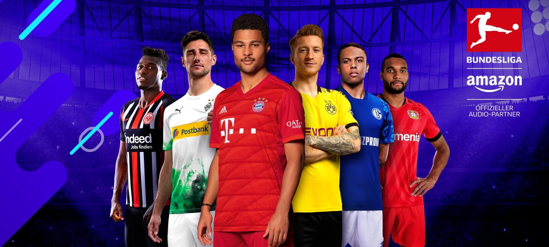 Sechs Bundesliga-Spieler blicken herausfordernd in die Kamera