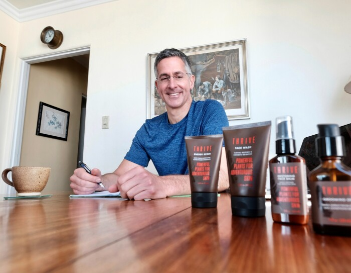 Thrive men's natural skin care products founder Alex McIntosh