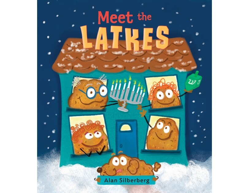 Meet the Latkes holiday book shows a house under a light dusting of snow. In each of the four windows is a latke with a face and smile. The two in the second floor windows hold a menorah and a dreidel. In front of the house is a dog latke.