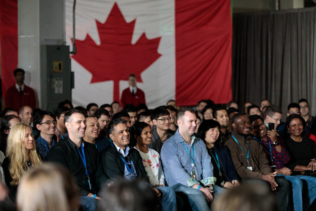 Canadian PM Justin Trudeau announces the creation of 3,000 additional Amazon jobs in Vancouver, British Columbia, Canada on April 30, 2018.