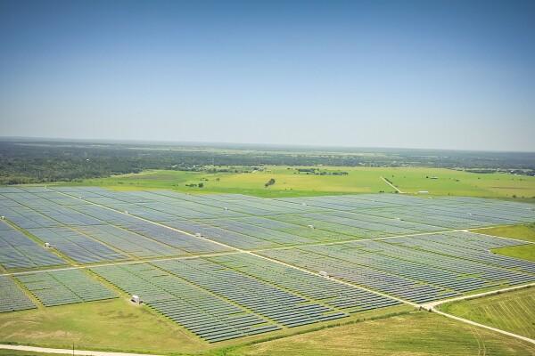 Aerial view of solar farm near Austin, Texas, USA. Renewable ene