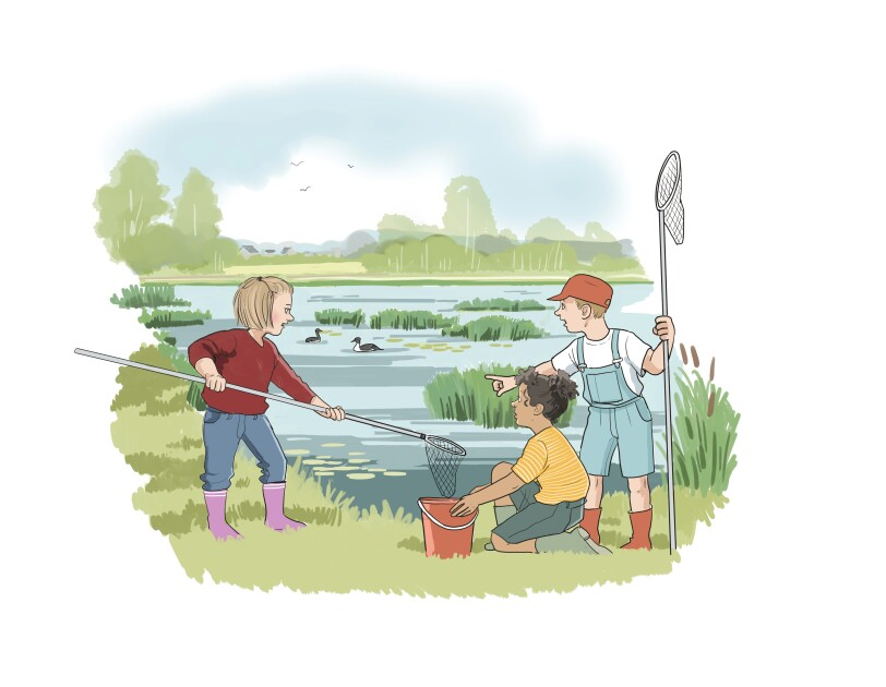 våtmark-barn med håvar-illustration2