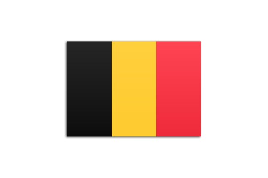 Flat flag of Belgium, on a white background