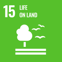 "UN SDG #15 reads ""Life on Land"" and features an icon of a tree, land and three flying birds."