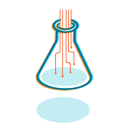 "An illustration of a lab flask with what looks like electrical circuits pouring into it. This represents ""Tech for good."""