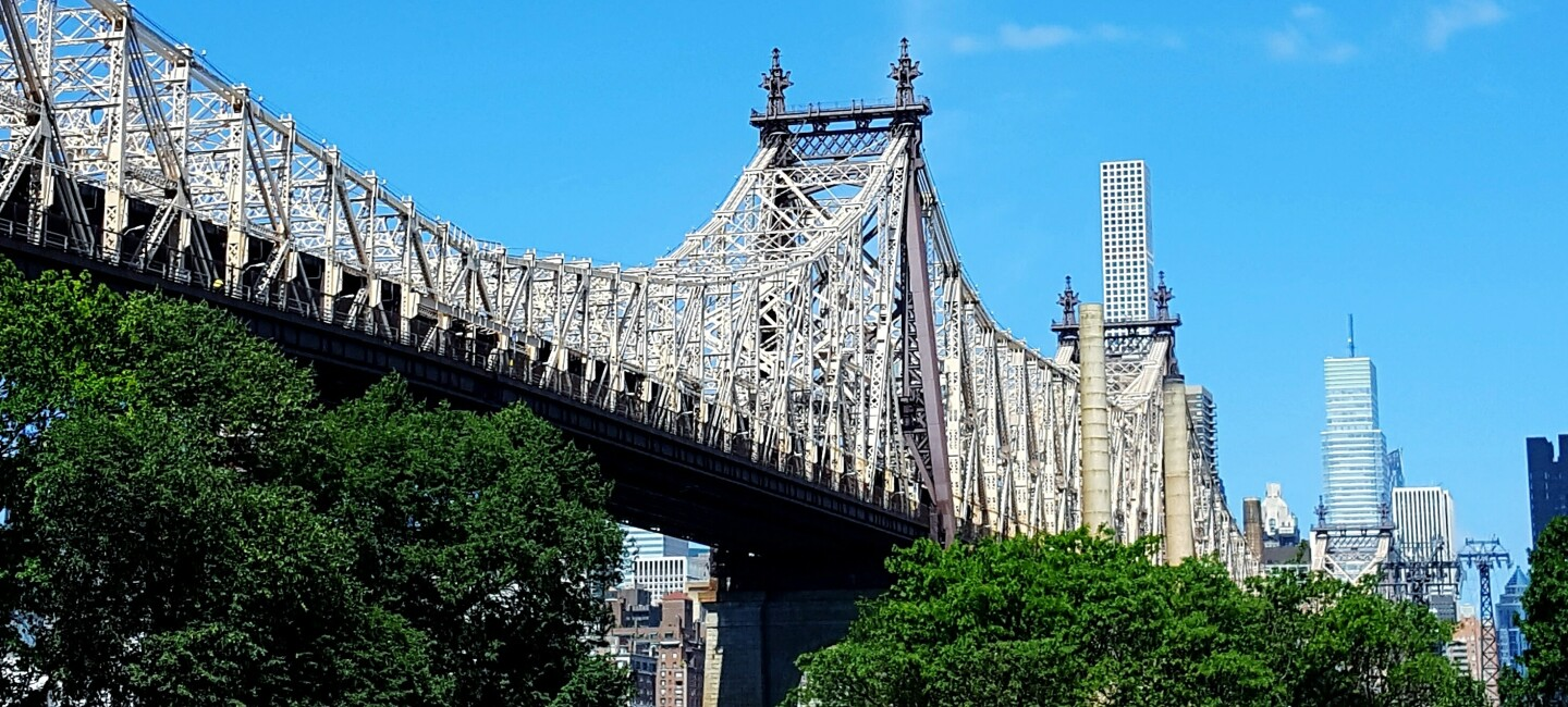 A Low-Angle View of the Ed Koch Queensboro Bridge Against Sky