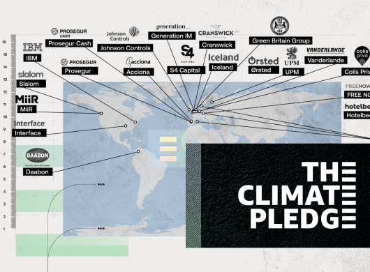 Mapa del mundo con el nombre de todas las empresas y sus países de origen que se han adherido a The Climate Pledge. En la parte inferior derecha, en un fondo negro, hay un rectángulo con letras blancas The Climate Pledge. ACCIONA, Grupo Prosegur y Hotelbeds, junto con Colis Prive, Cranswick plc, Daabon, FREE NOW, Generation Investment Management, Green Britain Group, IBM, Iceland Foods, Interface, Johnson Controls, MiiR, Orsted, Slalom, S4Capital, UPM y Vanderlande.