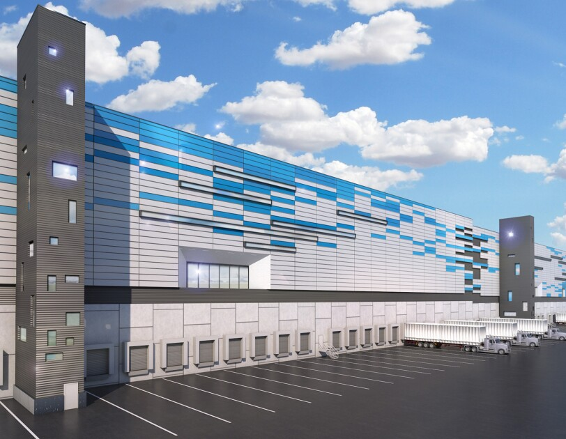 An illustration of the exterior space of the new Amazon Air Hub at CVG.