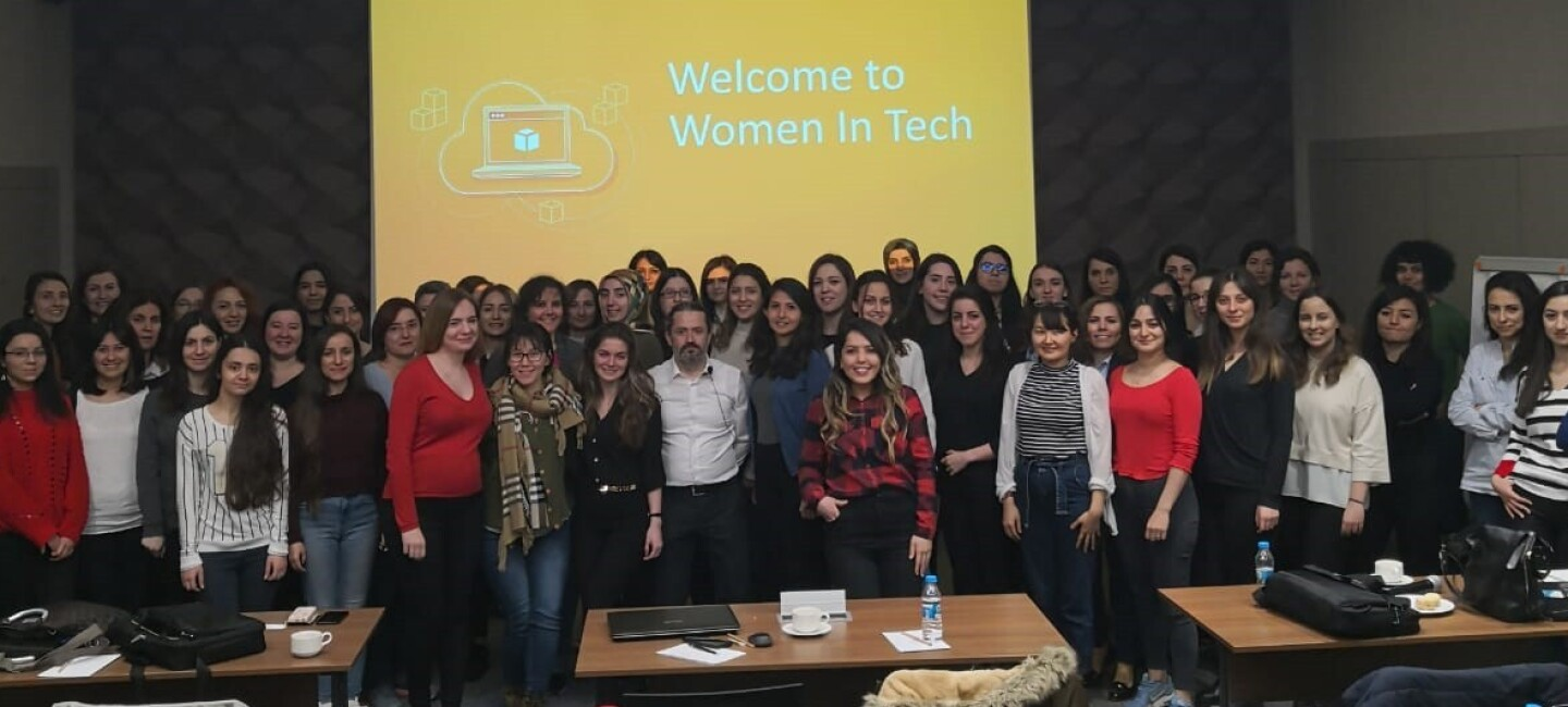 "Photograph of all the ""Welcome to Women in Tech"" initiative"