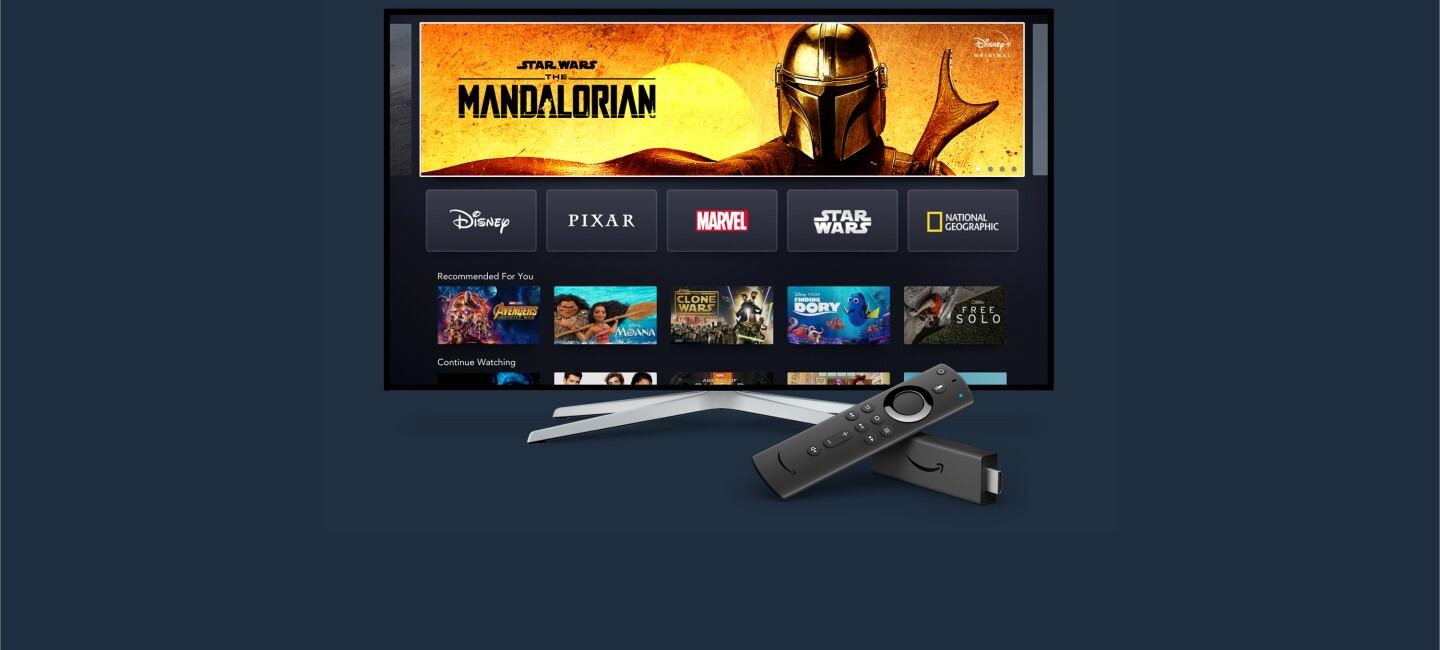 Disney + home screen on blue background