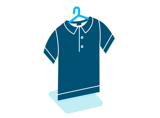 Blue icon of a shirt on a hanger.
