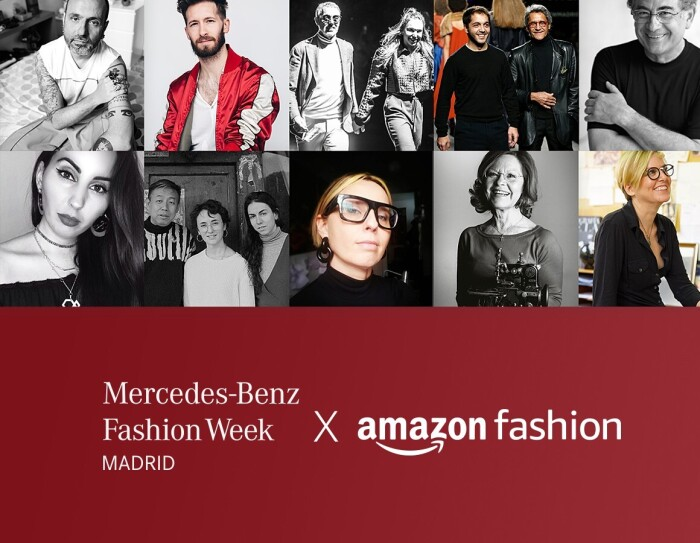 El texto de la foto en blanco es el siguiente: Mercedes-Benz Fashion Week Madrid X Amazon Fashion, La imagen es rectangular. En la mitad superior hay 10 imágenes en forma de rectángulo de diseñadores de moda. Y en la parte inferior y en un fondo rojo, el texto especificado en blanco.