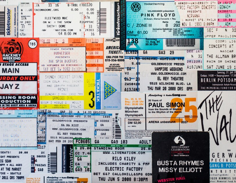A collection of concert tickets on the wall of the Amazon Music office in Seattle, WA.