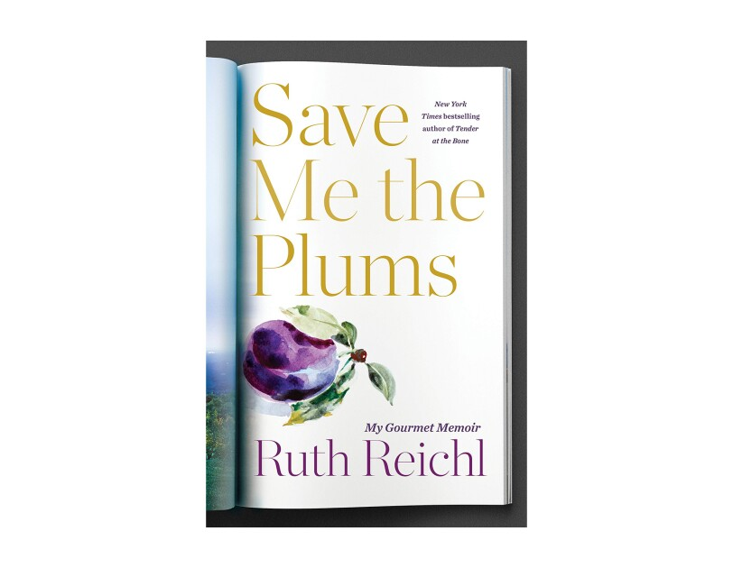 "Book cover for ""Save Me the Plums"" by Ruth Reichl. The title is in gold serif font, above a painting of a plumb with leaves, the author's name is in purple font, all on a white background. The title gives the illusion of a page from a magazine, folded over."