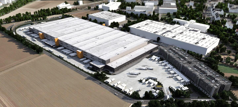 Modellzeichnung vom neuen Logistikzentrum Mönchengladbach