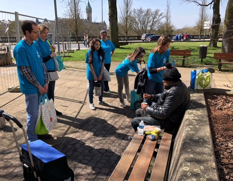 Amazonians sharing food with the homeless residents of Luxembourg