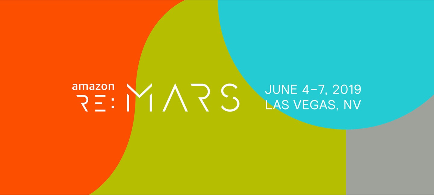 The Amazon re:Mars conference logo, showing dates of June 4 -7, 2019 in Las Vegas, Nevada