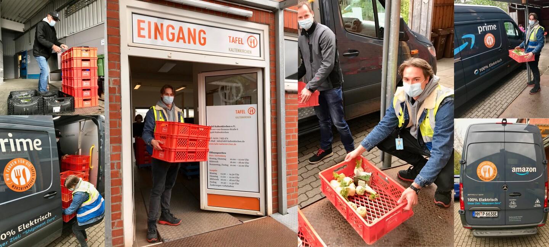 Collage mit Bildern von Tafel- und Amazon-Mitarbeiter:innen bei der Hilfsaktion, mit Lieferfahrzeug