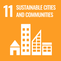"UN SDG #11 reads ""Sustainable Cities and Communities"" and features an icon comprised of four different types of buildings."