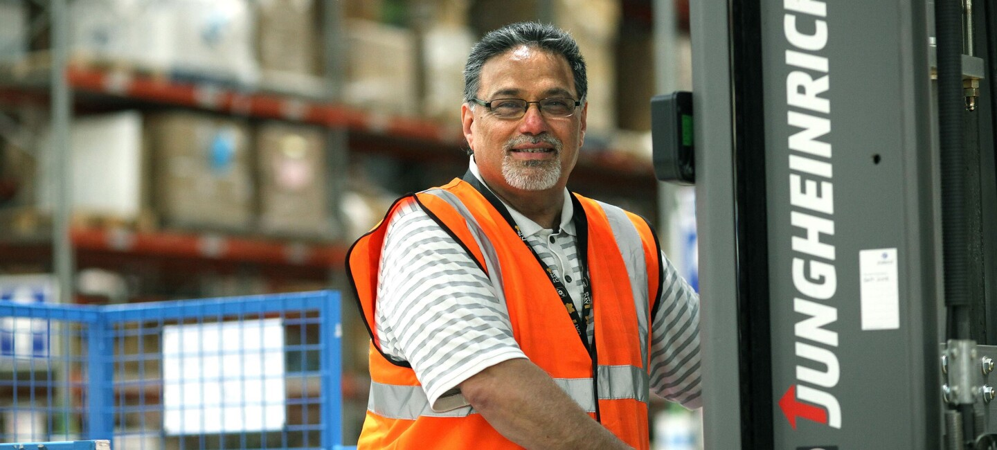 Satbinder Gill, fulfilment centre employee at Amazon in Coalville, pictured at work
