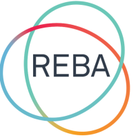 A logo for REBA that features the name of the organization with a graphic of two interlocking circles surrounding it.