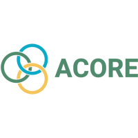 The ACORE logo features the name of the organization next to a graphic of three intersecting circles in green, blue and yellow